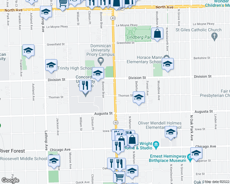 map of restaurants, bars, coffee shops, grocery stores, and more near 3 North Harlem Avenue in Oak Park
