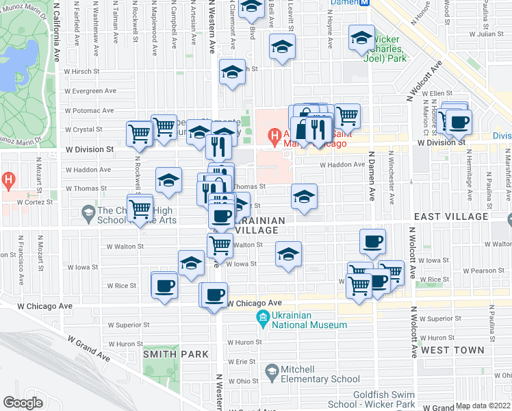map of restaurants, bars, coffee shops, grocery stores, and more near 2300 West Cortez Street in Chicago