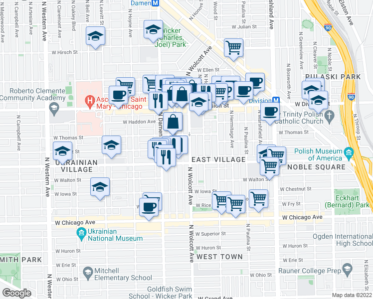 map of restaurants, bars, coffee shops, grocery stores, and more near 1028 North Wolcott Avenue in Chicago