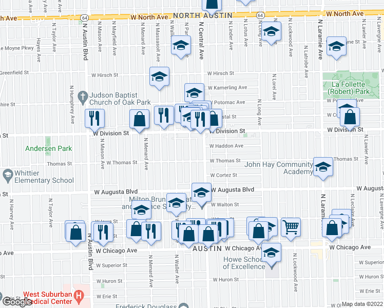 map of restaurants, bars, coffee shops, grocery stores, and more near 1119 North Parkside Avenue in Chicago