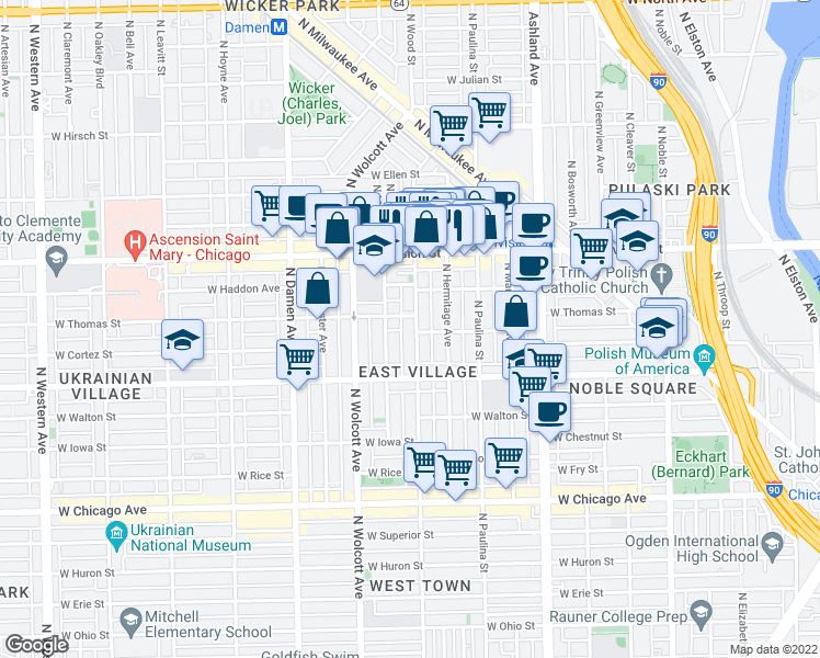 map of restaurants, bars, coffee shops, grocery stores, and more near 1048 North Wood Street in Chicago