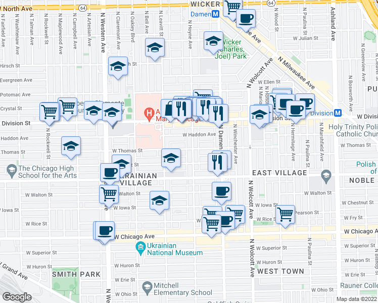 map of restaurants, bars, coffee shops, grocery stores, and more near 1056 North Hoyne Avenue in Chicago