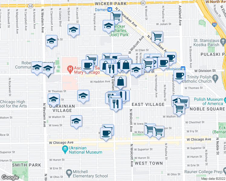 map of restaurants, bars, coffee shops, grocery stores, and more near North Damen Avenue in Chicago