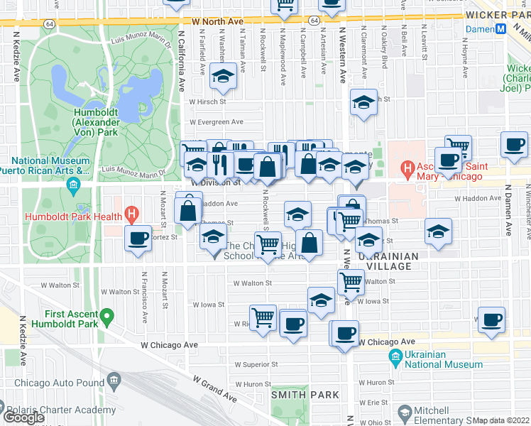 map of restaurants, bars, coffee shops, grocery stores, and more near 1114 North Rockwell Street in Chicago