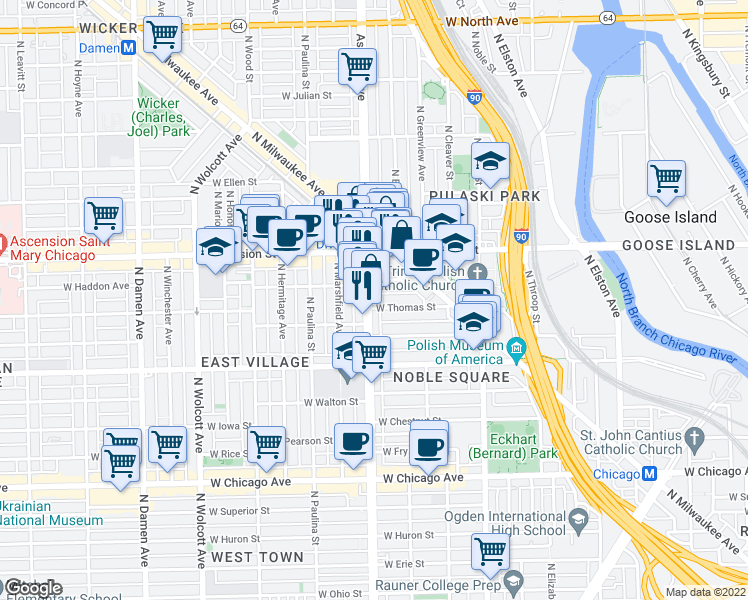 map of restaurants, bars, coffee shops, grocery stores, and more near 1105 North Ashland Avenue in Chicago