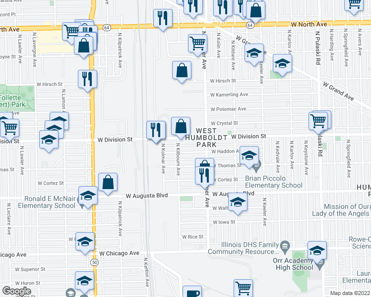 map of restaurants, bars, coffee shops, grocery stores, and more near 4449 West Division Street in Chicago