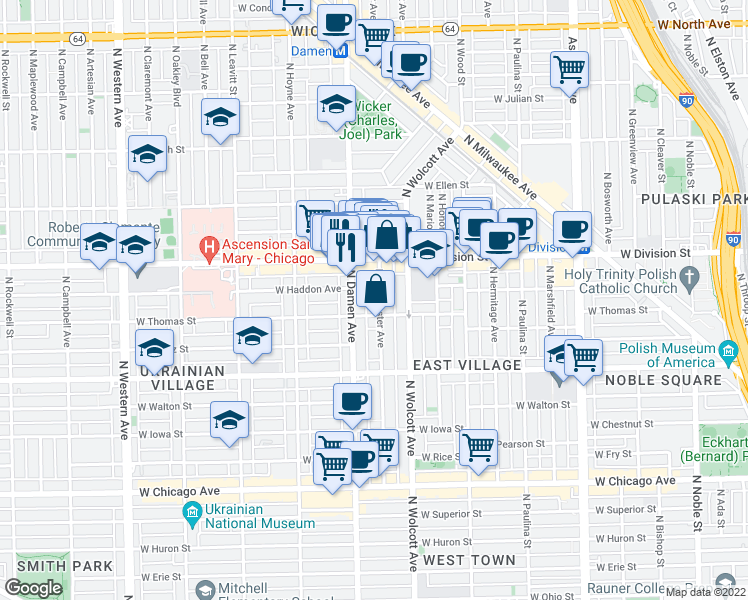 map of restaurants, bars, coffee shops, grocery stores, and more near 1114 North Winchester Avenue in Chicago