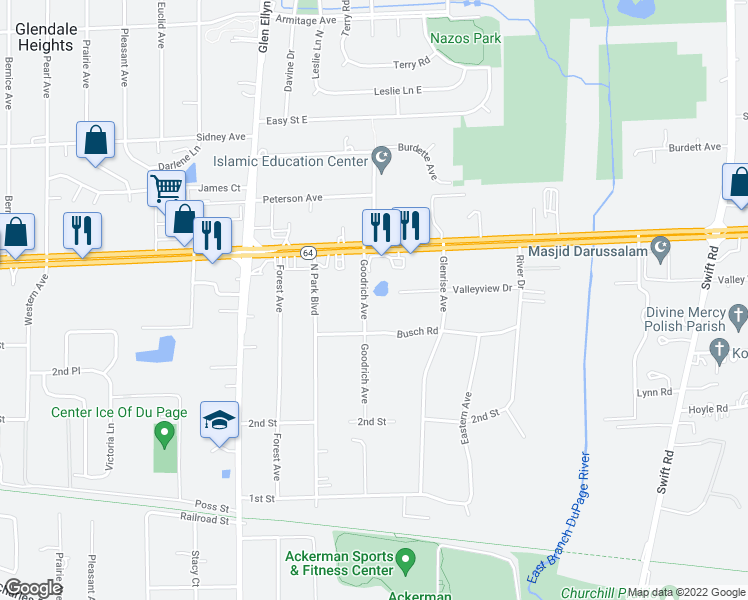 map of restaurants, bars, coffee shops, grocery stores, and more near 1N703 Goodrich Avenue in Glen Ellyn