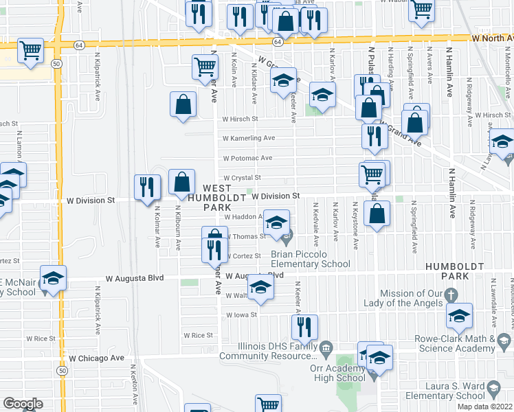 map of restaurants, bars, coffee shops, grocery stores, and more near N Kildare Ave in Chicago