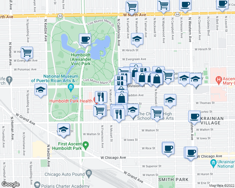 map of restaurants, bars, coffee shops, grocery stores, and more near 1136 North California Avenue in Chicago