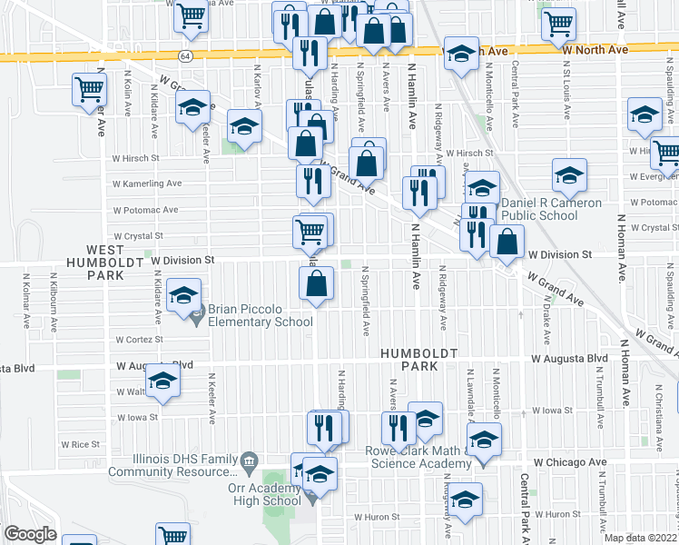 map of restaurants, bars, coffee shops, grocery stores, and more near 1160 North Harding Avenue in Chicago