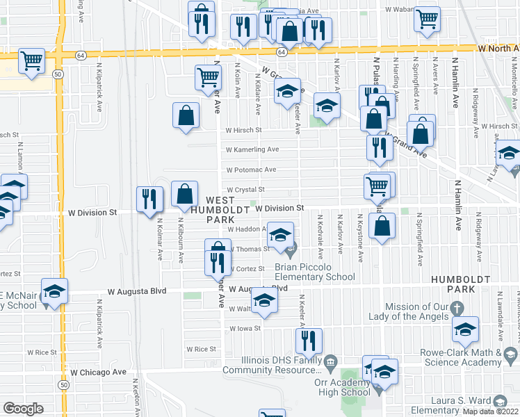map of restaurants, bars, coffee shops, grocery stores, and more near North Kildare Avenue in Chicago