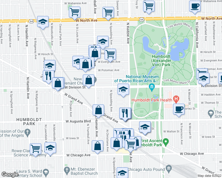 map of restaurants, bars, coffee shops, grocery stores, and more near North Spaulding Avenue in Chicago
