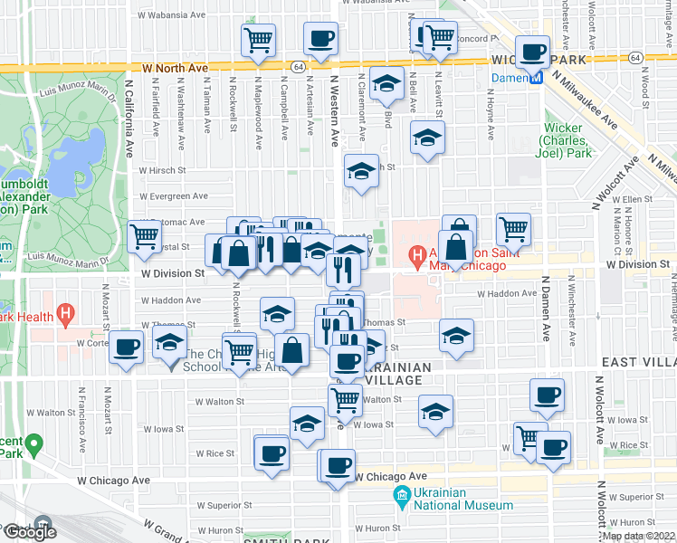 map of restaurants, bars, coffee shops, grocery stores, and more near North Western Avenue & West Division Street in Chicago