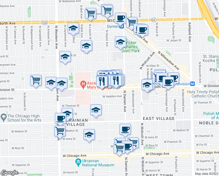map of restaurants, bars, coffee shops, grocery stores, and more near 2060 West Division Street in Chicago