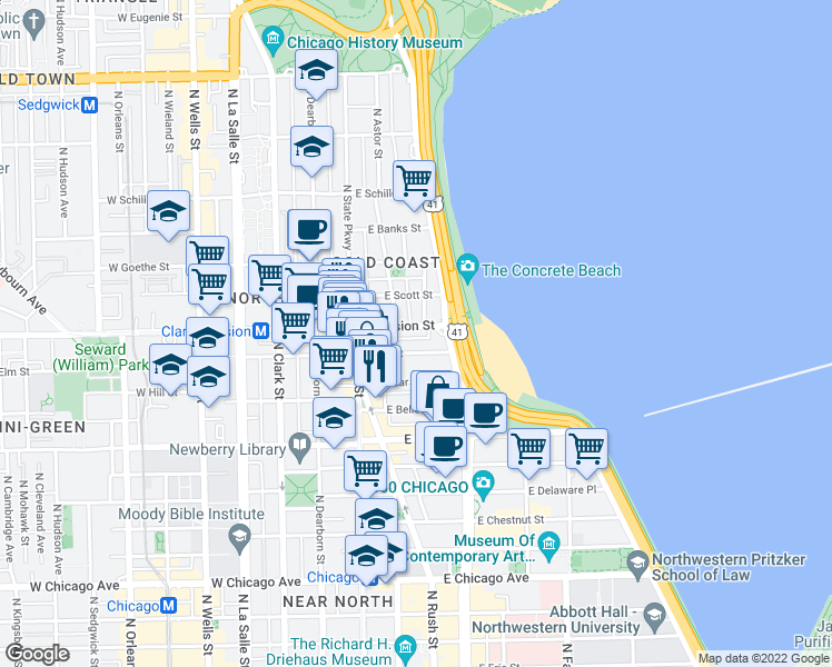 map of restaurants, bars, coffee shops, grocery stores, and more near 71 East Division Street in Chicago