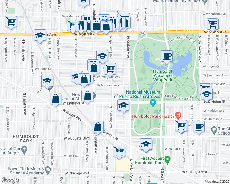 map of restaurants, bars, coffee shops, grocery stores, and more near 3250 West Crystal Street in Chicago