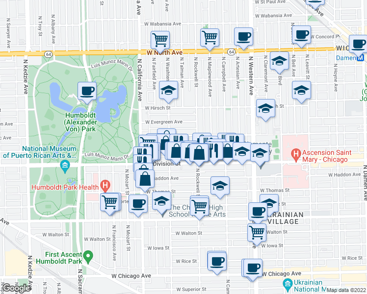 map of restaurants, bars, coffee shops, grocery stores, and more near 2648 West Crystal Street in Chicago