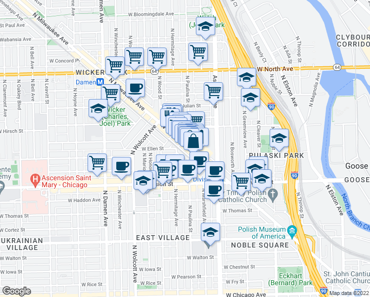 map of restaurants, bars, coffee shops, grocery stores, and more near 1320 North Milwaukee Avenue in Chicago