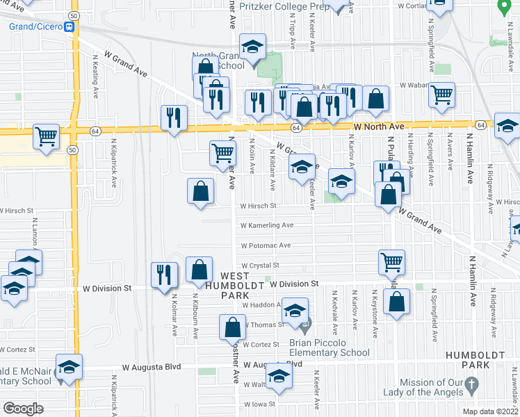 map of restaurants, bars, coffee shops, grocery stores, and more near 4319 West Hirsch Street in Chicago