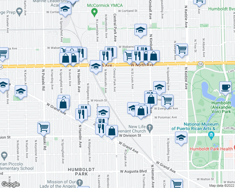 map of restaurants, bars, coffee shops, grocery stores, and more near 3551 West Beach Avenue in Chicago