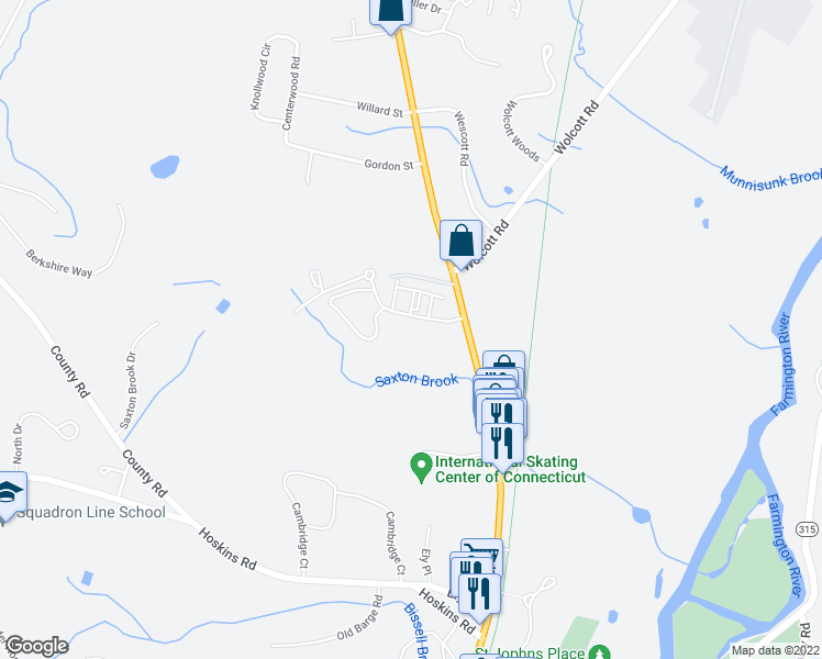 map of restaurants, bars, coffee shops, grocery stores, and more near 55 Dorset Crossing Drive in Simsbury