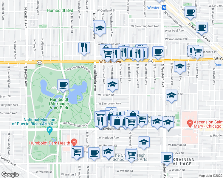 map of restaurants, bars, coffee shops, grocery stores, and more near 1430 North Washtenaw Avenue in Chicago