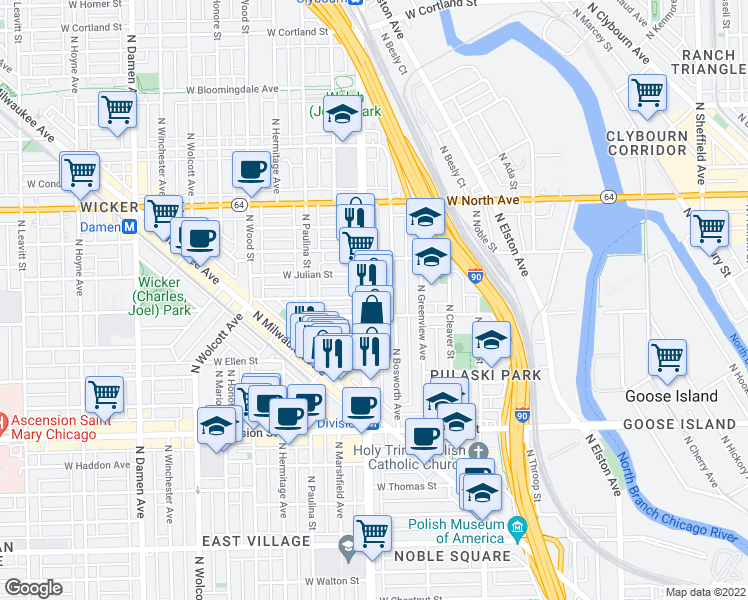 map of restaurants, bars, coffee shops, grocery stores, and more near 1415 North Ashland Avenue in Chicago