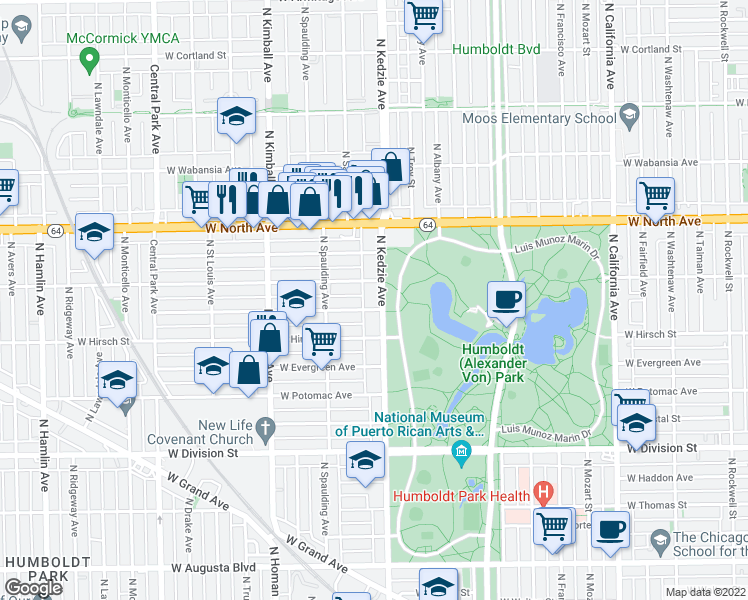 map of restaurants, bars, coffee shops, grocery stores, and more near 1438 North Kedzie Avenue in Chicago