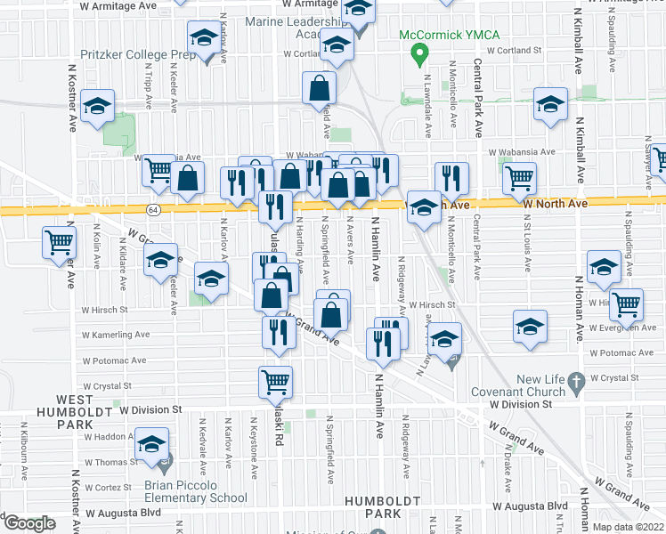 map of restaurants, bars, coffee shops, grocery stores, and more near 1449 N Springfield Ave in Chicago
