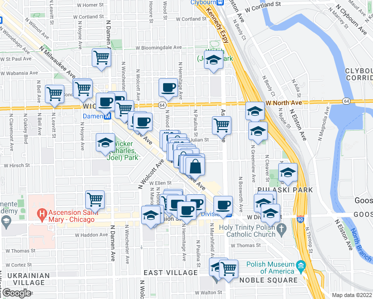 map of restaurants, bars, coffee shops, grocery stores, and more near 1720 West Beach Avenue in Chicago