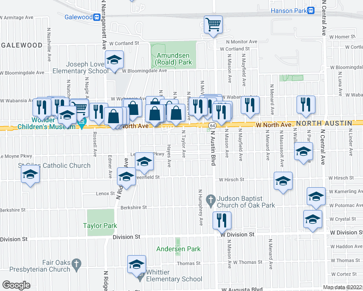 map of restaurants, bars, coffee shops, grocery stores, and more near 1225 North Taylor Avenue in Oak Park