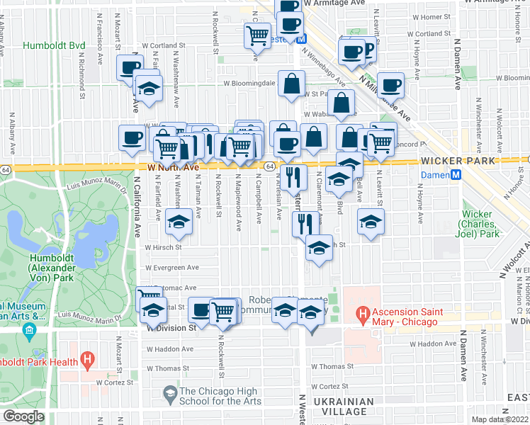 map of restaurants, bars, coffee shops, grocery stores, and more near 1451 North Campbell Avenue in Chicago