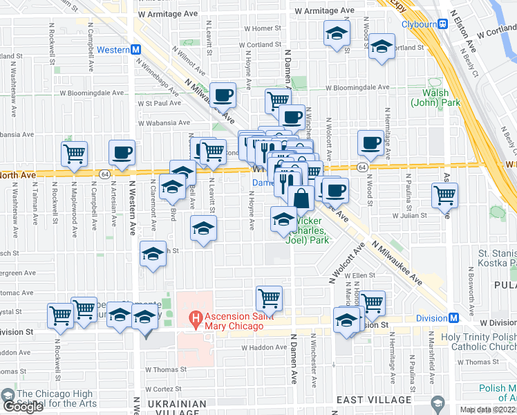 map of restaurants, bars, coffee shops, grocery stores, and more near 1513 North Hoyne Avenue in Chicago