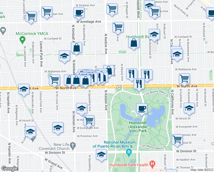 map of restaurants, bars, coffee shops, grocery stores, and more near West North Avenue & North Kedzie Avenue in Chicago