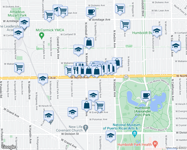 map of restaurants, bars, coffee shops, grocery stores, and more near 3332 West North Avenue in Chicago