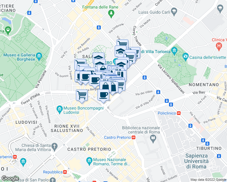 map of restaurants, bars, coffee shops, grocery stores, and more near 19 Via Messina in Rome