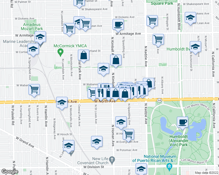 map of restaurants, bars, coffee shops, grocery stores, and more near 1646 North Kimball Avenue in Chicago