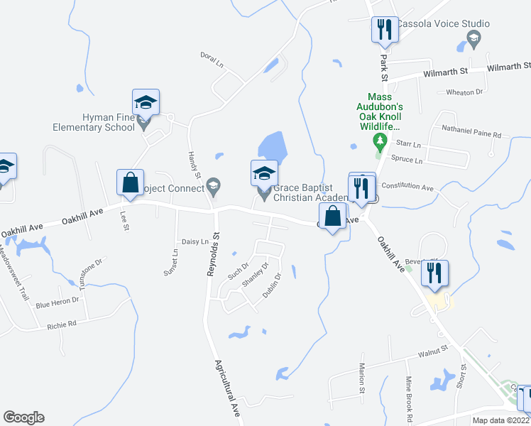 map of restaurants, bars, coffee shops, grocery stores, and more near 14-158 Melissa Drive in Attleboro