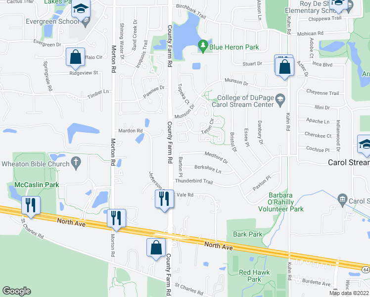 map of restaurants, bars, coffee shops, grocery stores, and more near 827 Medford Dr in Carol Stream