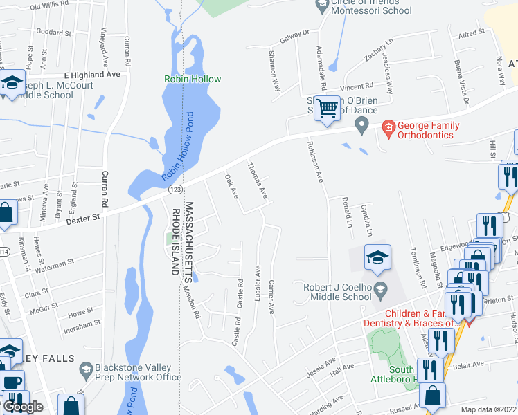 map of restaurants, bars, coffee shops, grocery stores, and more near Derrick Drive in Attleboro