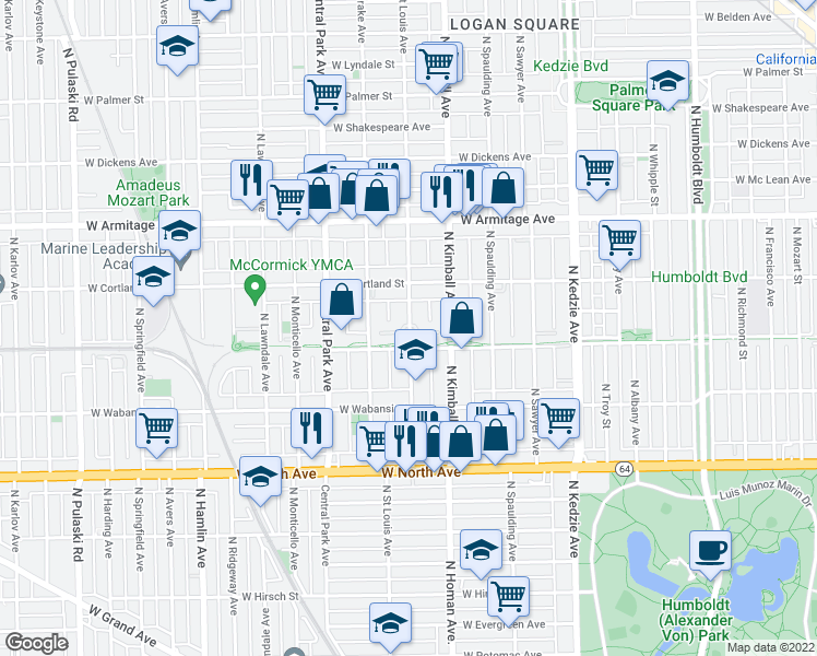 map of restaurants, bars, coffee shops, grocery stores, and more near 1816 N St Louis Ave in Chicago