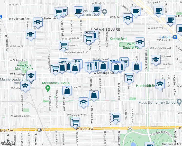 map of restaurants, bars, coffee shops, grocery stores, and more near West Armitage Avenue & North Kimball Avenue in Chicago