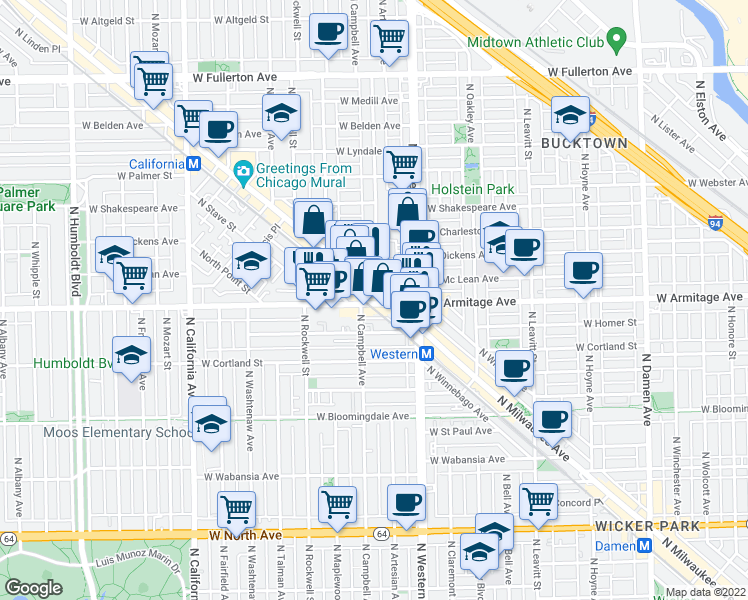 map of restaurants, bars, coffee shops, grocery stores, and more near 2000 North Milwaukee Avenue in Chicago