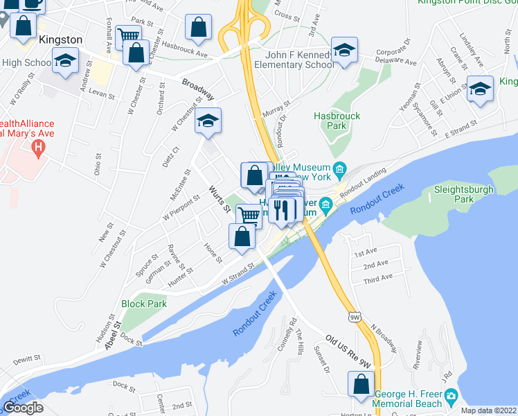 map of restaurants, bars, coffee shops, grocery stores, and more near 26 Post Street in Kingston
