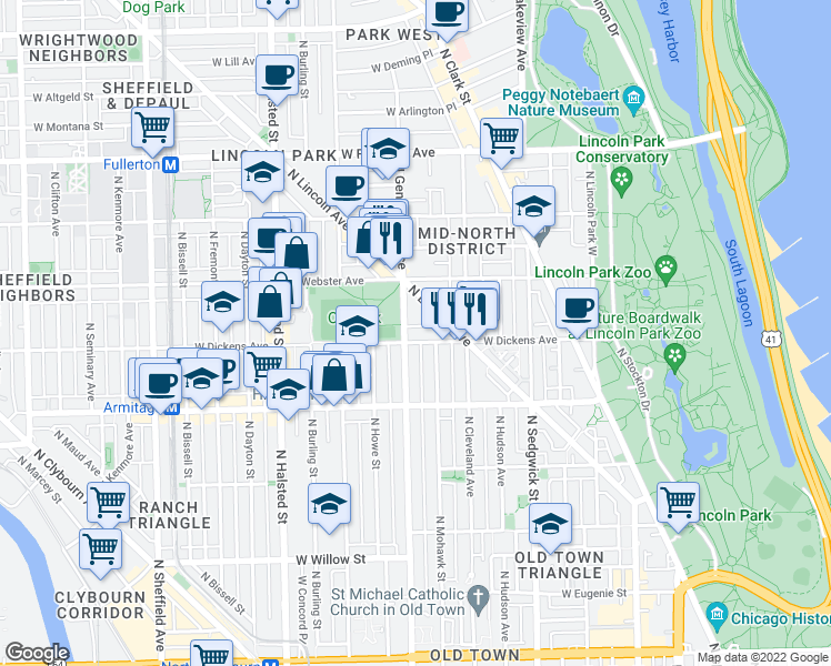 map of restaurants, bars, coffee shops, grocery stores, and more near North Halsted Street & West Schubert Avenue in Chicago