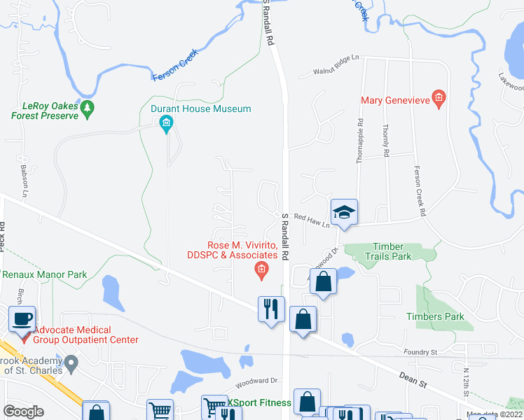 map of restaurants, bars, coffee shops, grocery stores, and more near 1009 Crestwood Circle in St. Charles