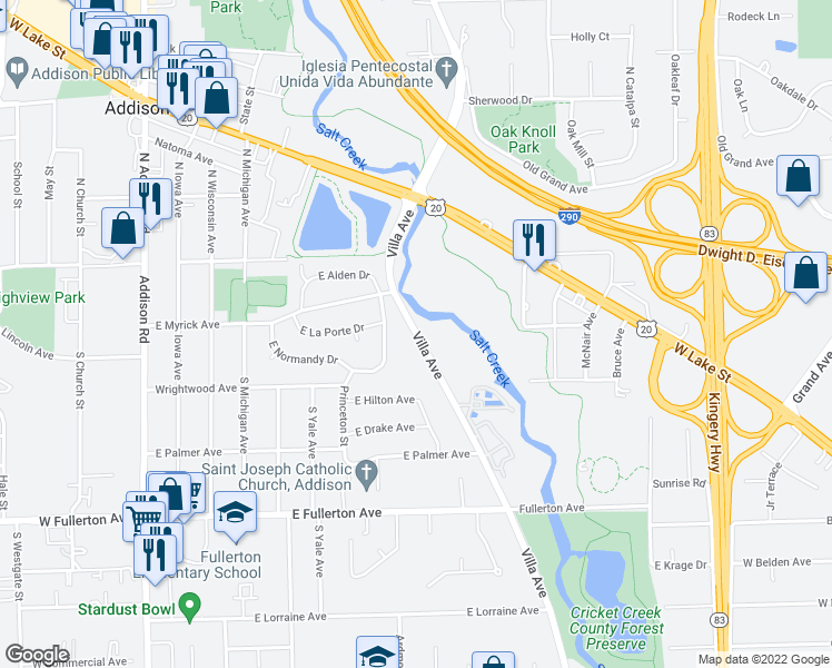map of restaurants, bars, coffee shops, grocery stores, and more near 125 Villa Avenue in Addison