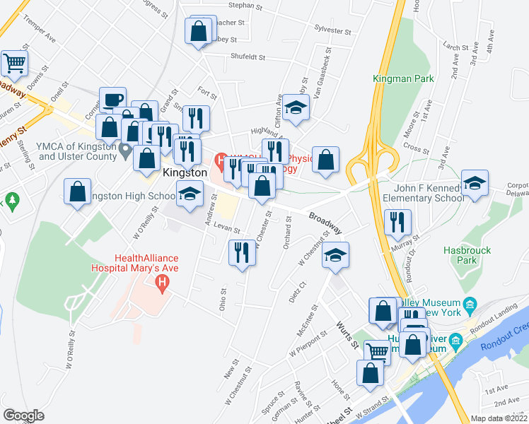 map of restaurants, bars, coffee shops, grocery stores, and more near 11 West Chester Street in Kingston
