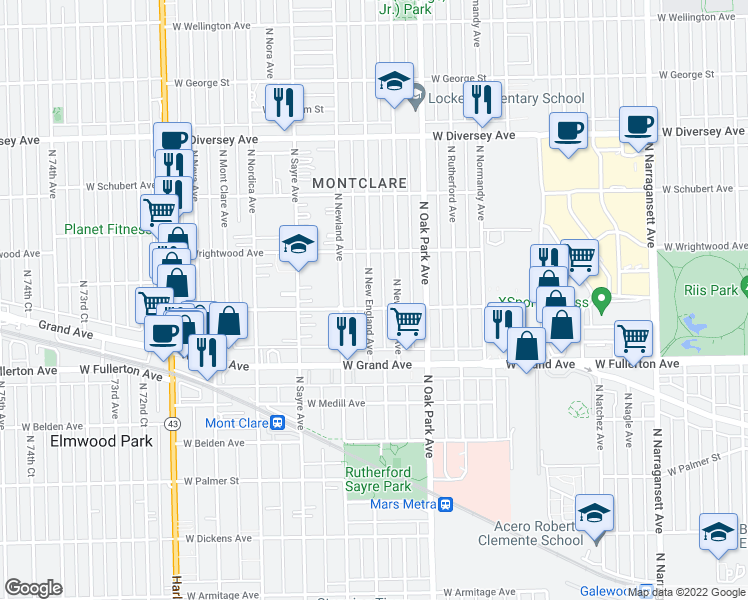 map of restaurants, bars, coffee shops, grocery stores, and more near 2507 North New England Avenue in Chicago